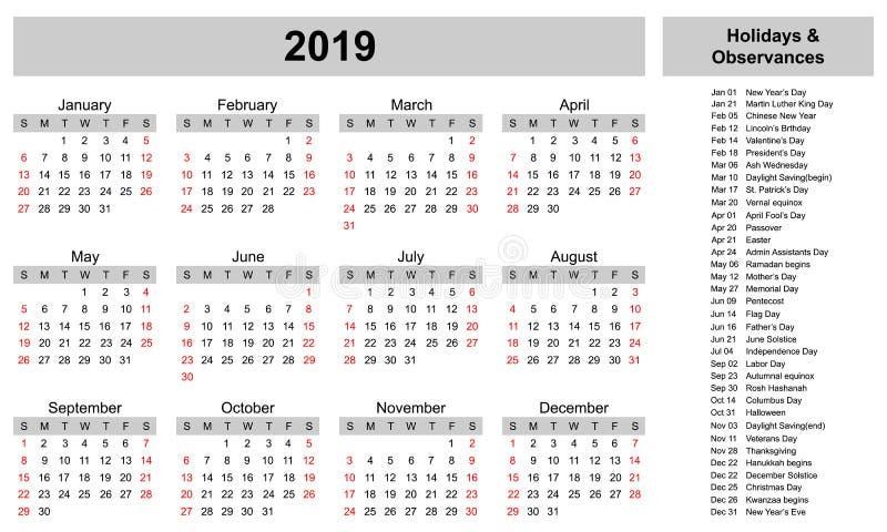 简单的日历模板与假日和遵守的2019年 皇族释放例证