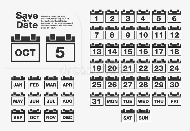 简单的日历集合 数字和星期,几个月 皇族释放例证