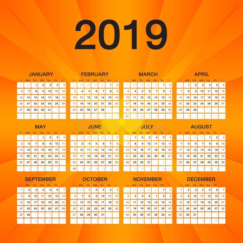 简单的日历2019年,星期星期天开始,橙色飞行物模板设计.图片
