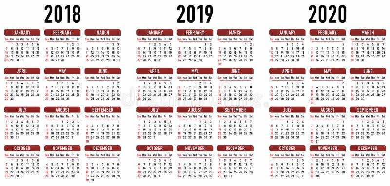 简单的日历2018年2019年2020年 背景装饰图象风格化漩涡向量挥动