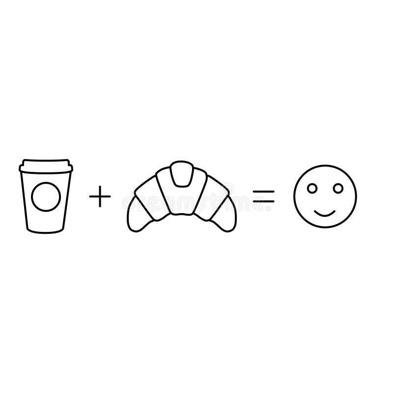 简单的早晨算术咖啡加上新月形面包均等 向量例证