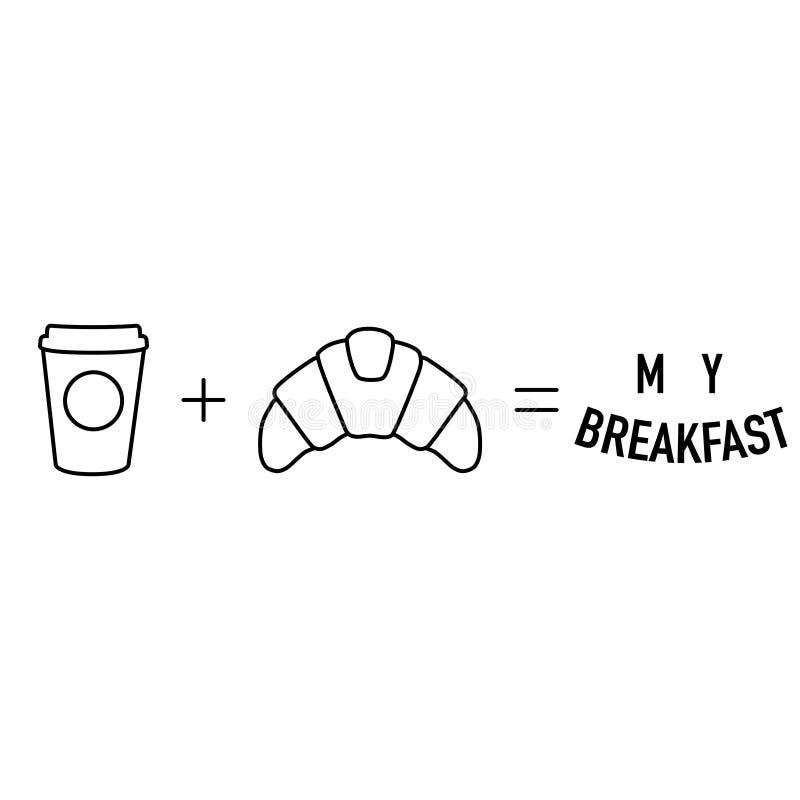 简单的早晨算术咖啡加上新月形面包均等 皇族释放例证