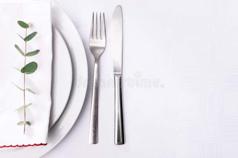 简单的晚餐设置,在餐巾的绿色词根与简单的陶器 库存图片