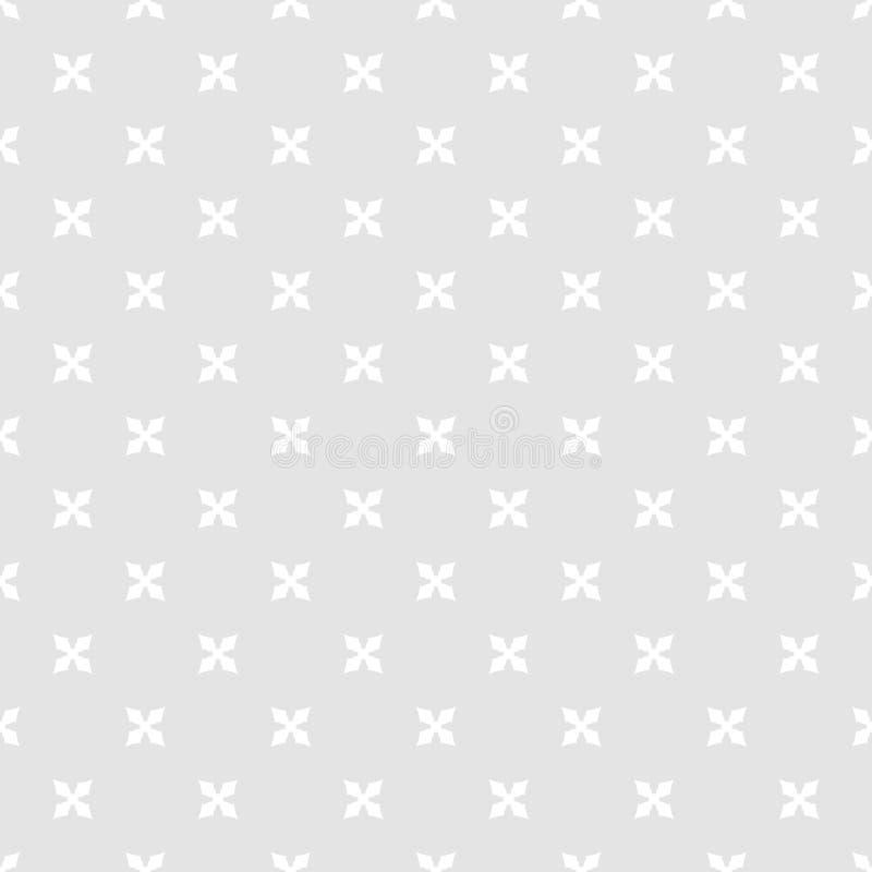 简单的最低纲领派几何花卉无缝的样式 灰色和白色装饰品 库存例证