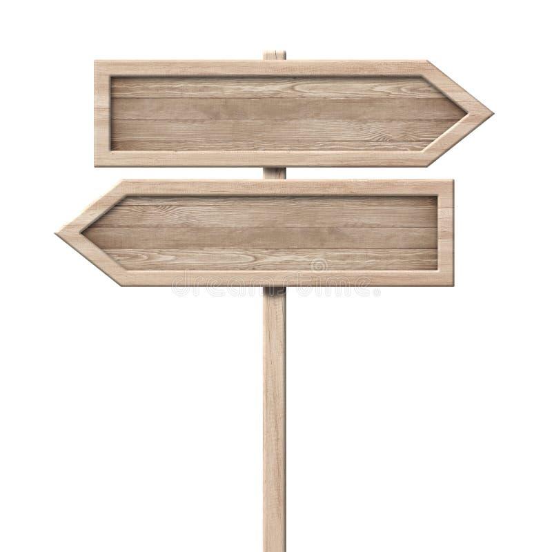 简单的木方向箭头路标roadsign由与唯一杆和明亮的框架的自然木头制成 库存图片