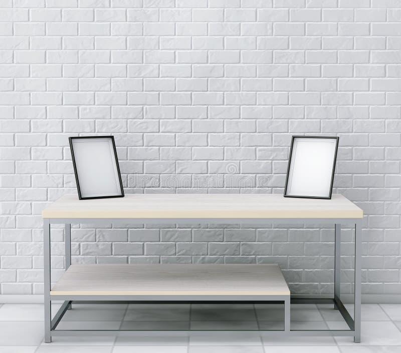 简单的木鸡尾酒和咖啡桌与空白的照片框架 库存例证