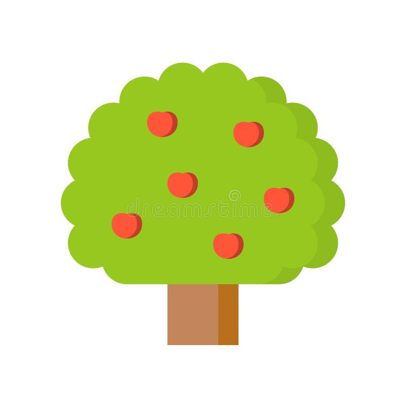 简单的树用苹果,苹果树,平的设计象 向量例证
