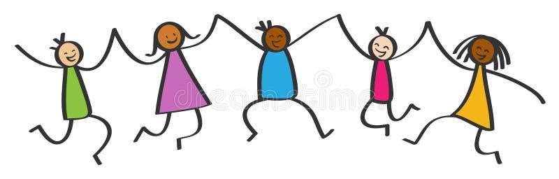 简单的棍子形象,跳跃五个愉快的多文化的孩子,举行手,微笑和笑 向量例证