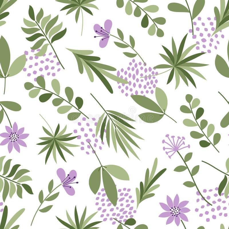 简单的植物样式 与花和小点的无缝的逗人喜爱的背景 也corel凹道例证向量 时尚印刷品的模板 库存例证