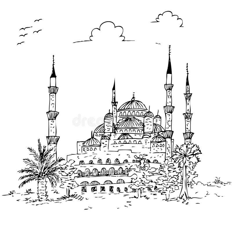 简单的概略蓝色清真寺历史大厦, istambul火鸡 向量例证