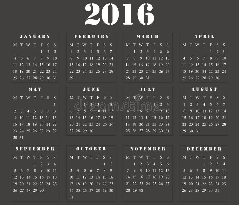 简单的欧洲方形的日历2016年 皇族释放例证