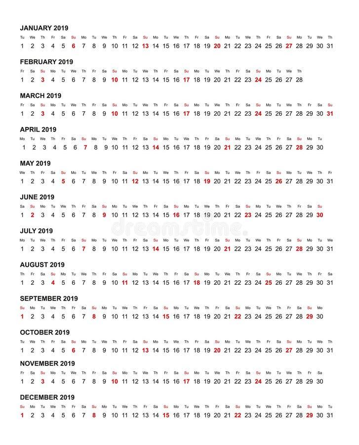 简单的水平的日历模板年2019年 库存例证