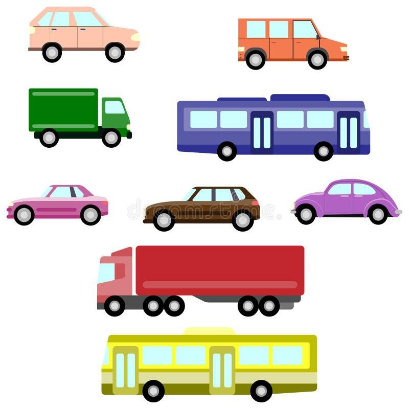 简单的汽车和汽车象集合 向量例证