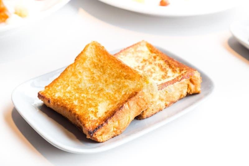 简单的法式多士面包早餐 库存照片