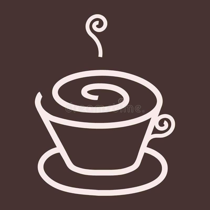 简单的热奶咖啡/咖啡/热的饮料商标,象 向量例证