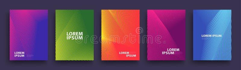简单的现代盖子模板设计 套介绍的最小的几何半音梯度,杂志,飞行物 10 eps 库存例证