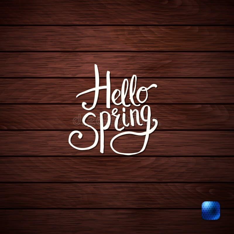 简单的白色你好春天概念图形设计 免版税库存照片