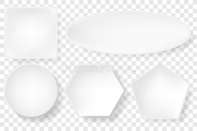 简单的白色基本的形状正方形,圈子,长圆形,六角形,与软的阴影的五边形在透明作用背景的左下角 向量例证