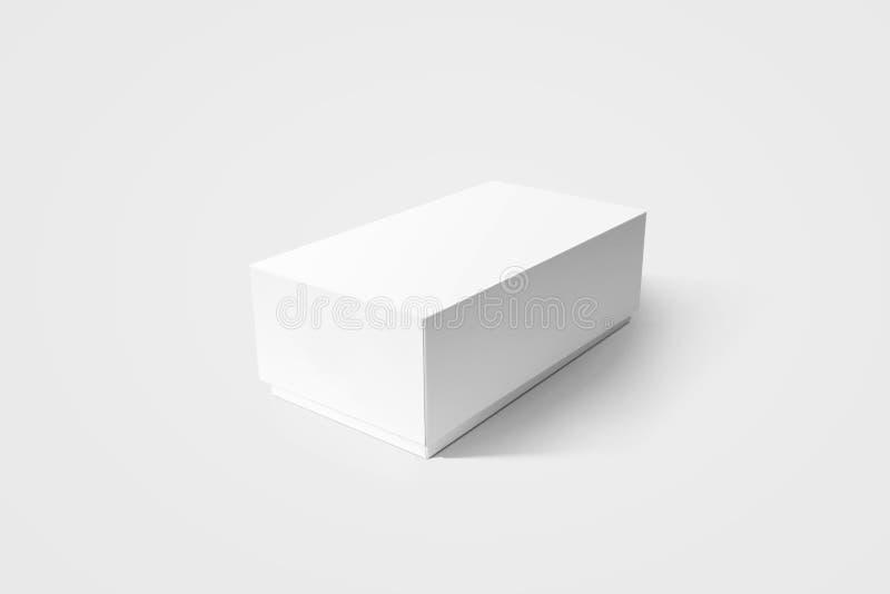 简单的白色纸盒产品箱子大模型,侧视图,裁减路线 库存例证