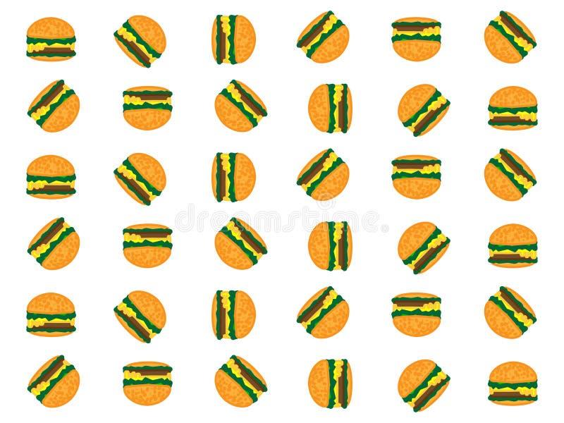 简单的白色背景设计用许多鲜美汉堡 库存例证