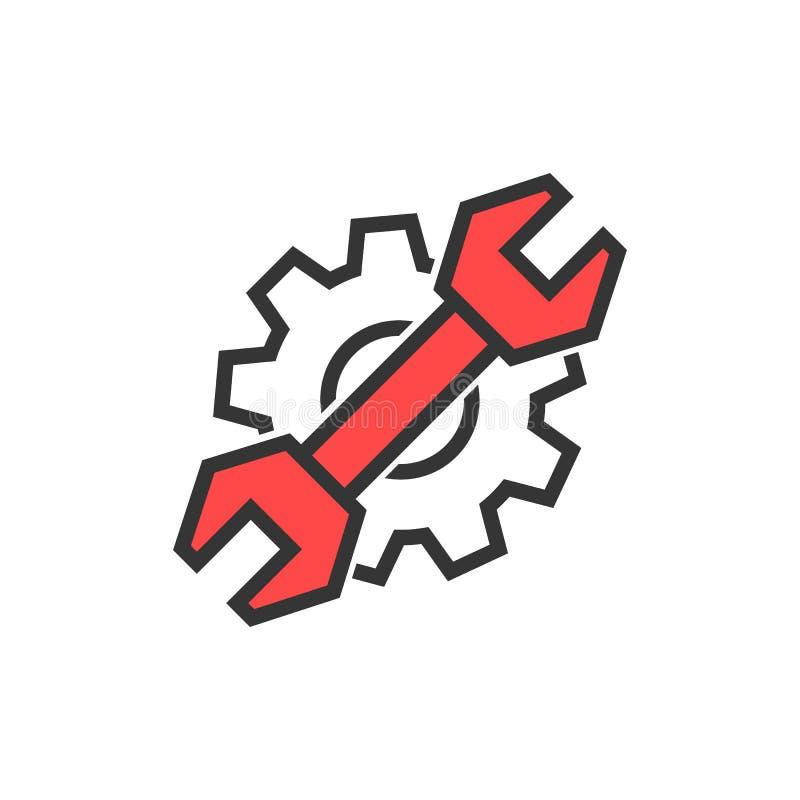 简单的稀薄的线板钳和齿轮商标 库存例证
