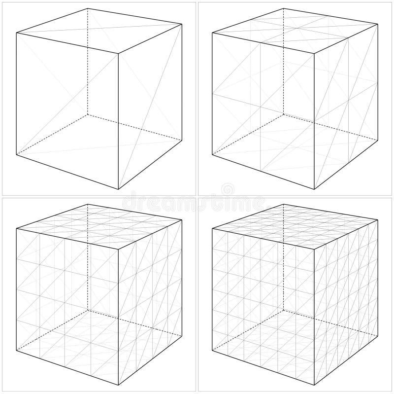 从简单的立方体到复杂的形状传染媒介05 库存例证