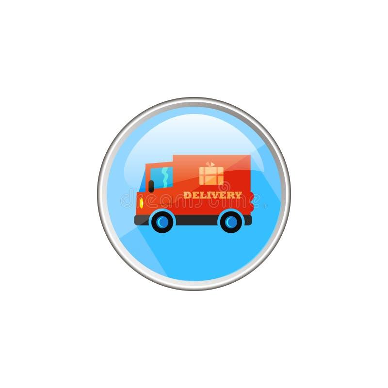 简单的红色送货车传染媒介圆的玻璃象  皇族释放例证