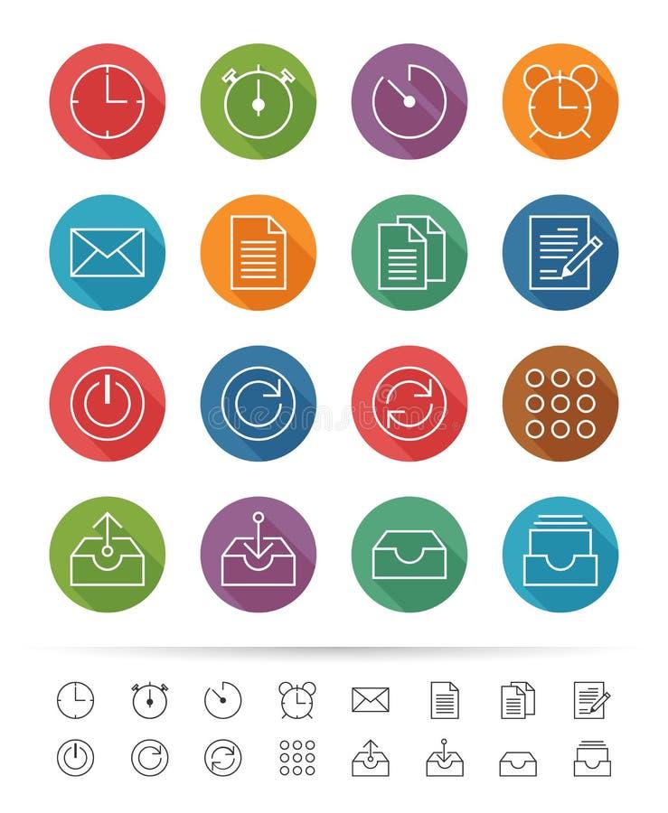 简单的线型:办公室&企业象设置-导航例证 库存例证