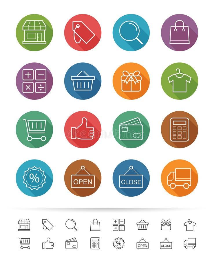 简单的线型:购物&市场象设置-导航例证 库存例证