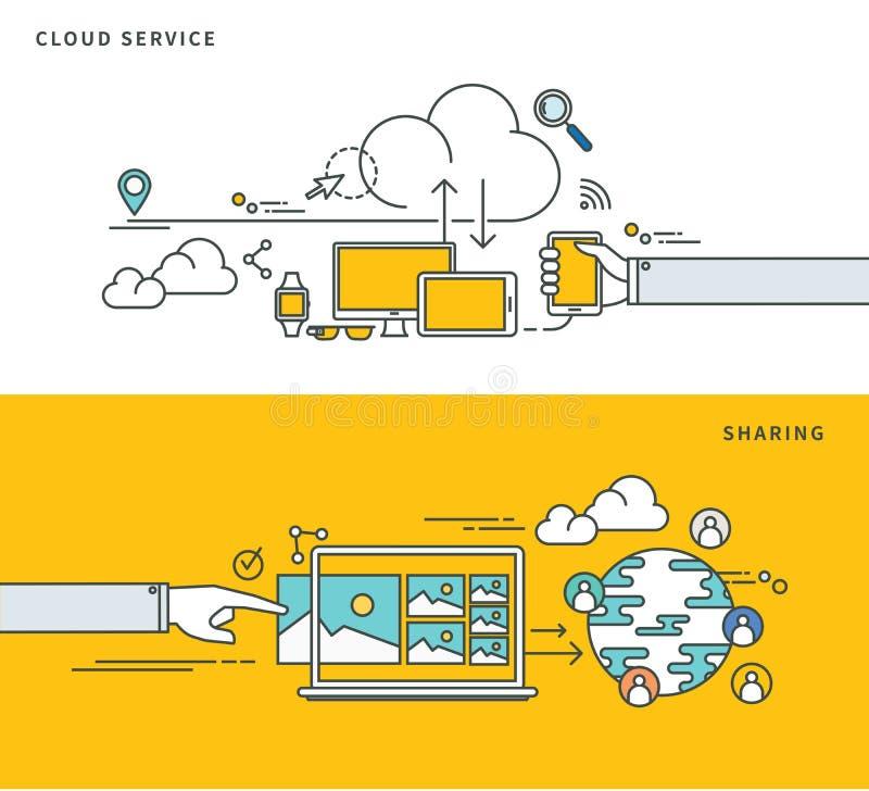 简单的线平的设计云彩服务&分享,现代传染媒介例证 皇族释放例证