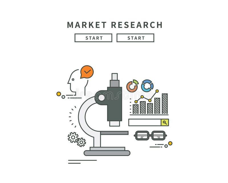 简单的线平的设计市场研究,现代例证 向量例证
