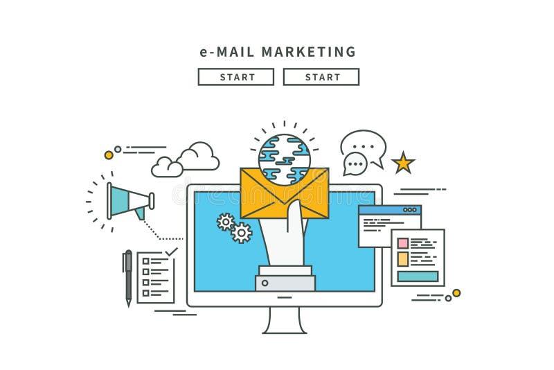 简单的线平的设计电子邮件行销,现代例证 向量例证