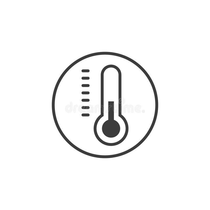 简单的线艺术传染媒介温度计象 库存例证