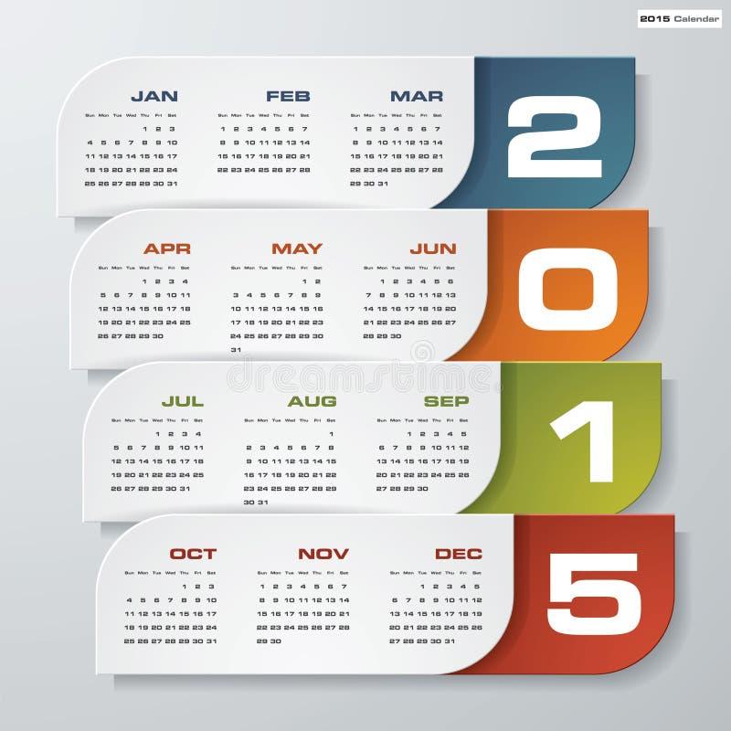 简单的编辑可能的传染媒介日历2015年 库存例证