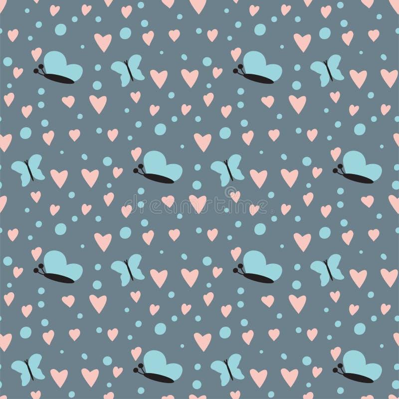 简单的美丽心脏锋利的蝴蝶无缝的样式背景粉色的卡片庆祝明亮的意思号标志 向量例证