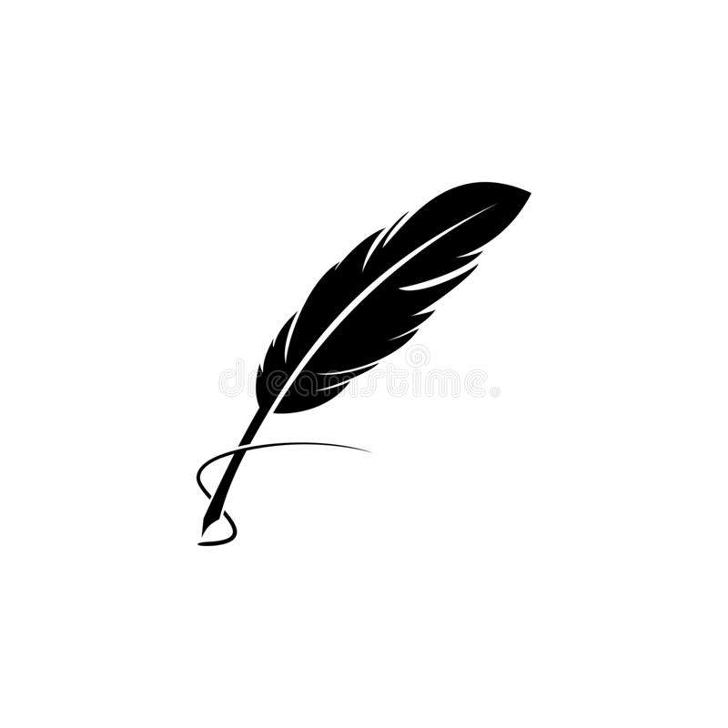 简单的羽毛笔传染媒介剪影 向量例证