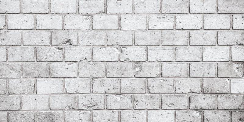 简单的脏的灰色白色砖墙样式表面纹理宽全景横幅背景 库存照片