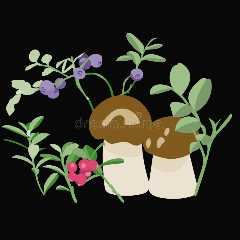 简单的艺术、莓果和蘑菇 库存图片