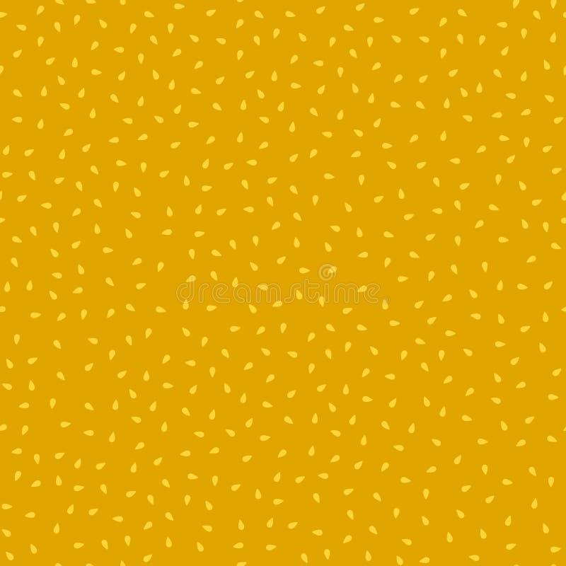 简单的芥末黄色芝麻无缝的样式,传染媒介 向量例证