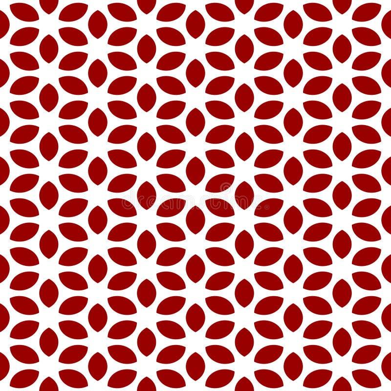 简单的花卉样式 无缝的纹理有红色花白色背景 库存例证