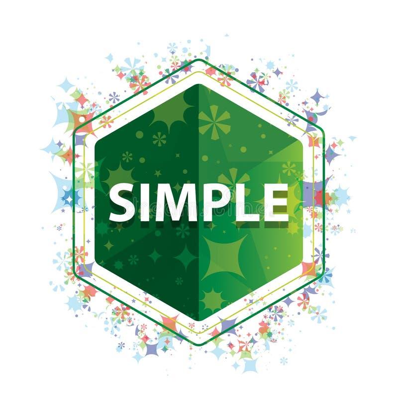 简单的花卉植物样式绿色六角形按钮 库存例证