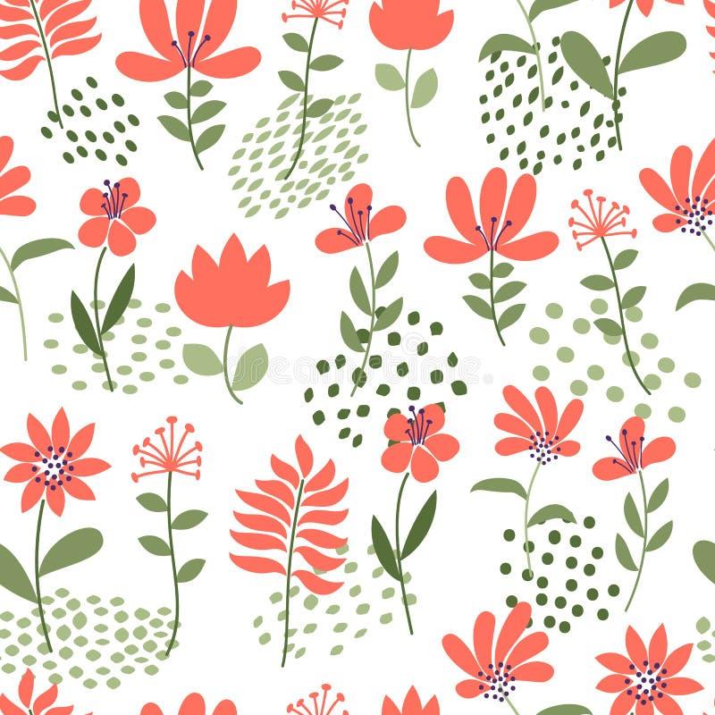 简单的花纹花样 无缝的逗人喜爱的花卉和小点背景 也corel凹道例证向量 时尚印刷品的模板 库存例证