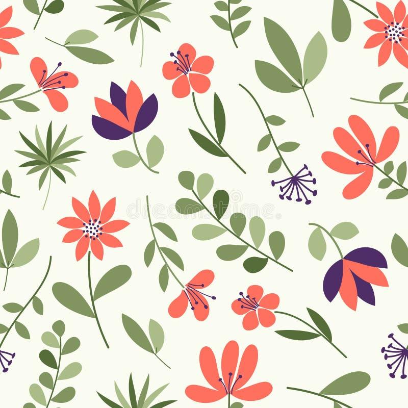 简单的花纹花样 背景逗人喜爱花卉无缝 也corel凹道例证向量 时尚印刷品的典雅的模板 库存例证