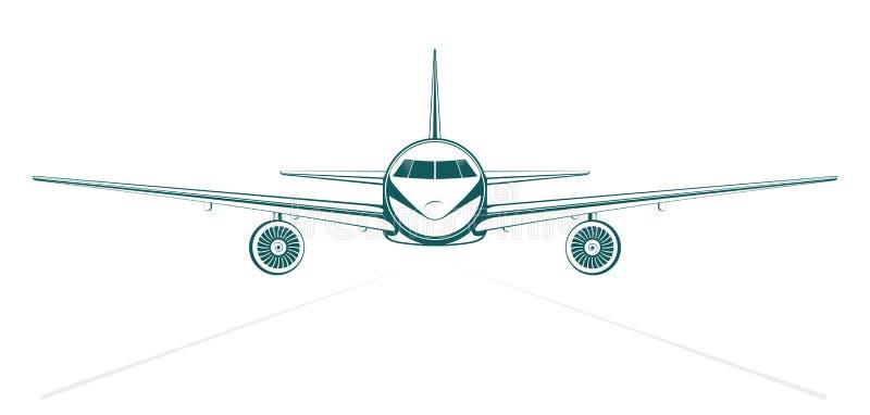 简单的蓝色绘了概述从前面的喷气式客机 向量例证
