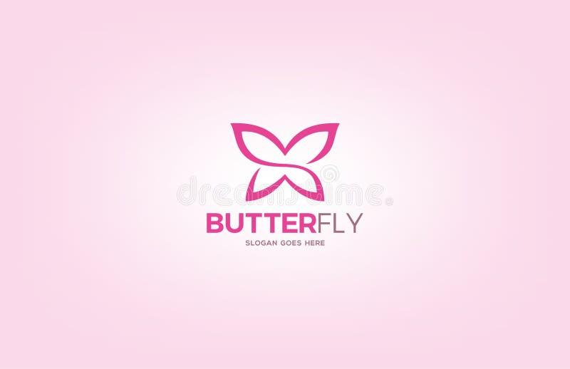 简单的蝴蝶商标设计模板 库存图片