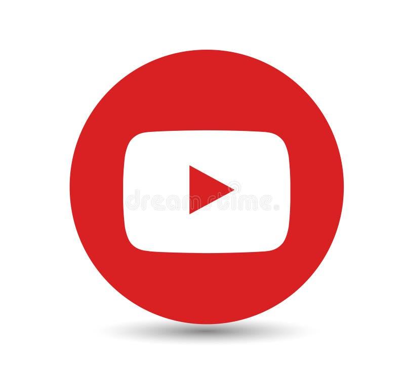 简单的被隔绝的红色YouTube商标象 向量例证