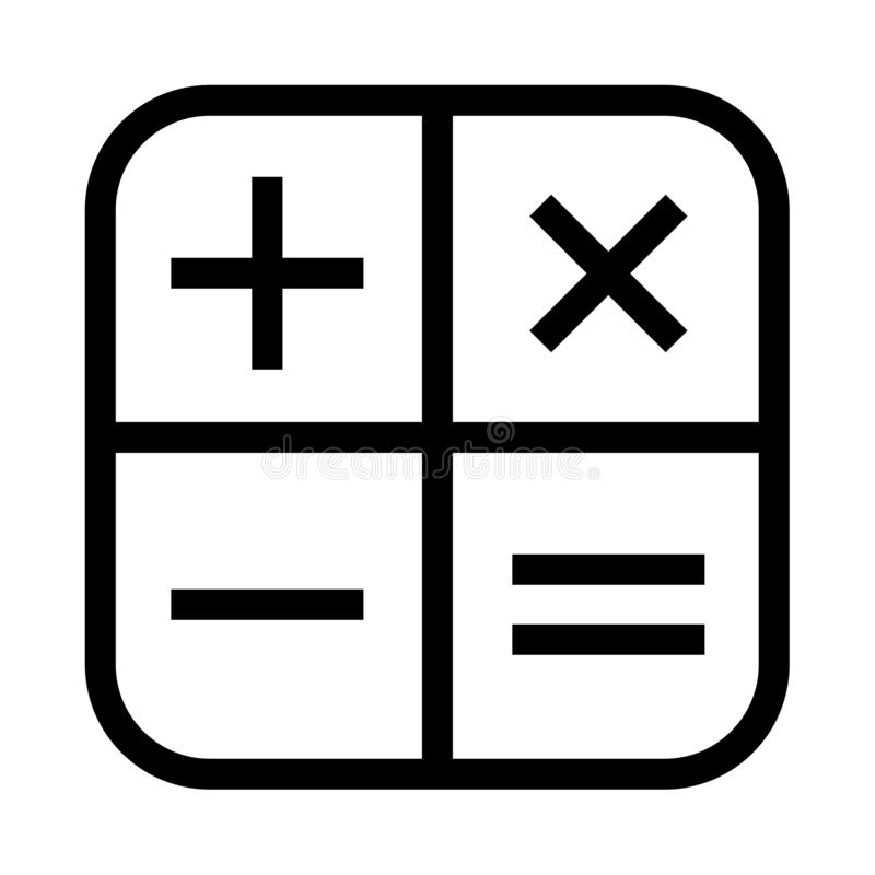 简单的计算器象加上负号倍增相等 皇族释放例证