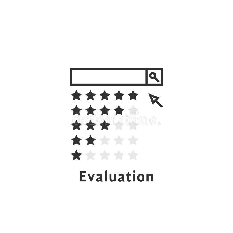 简单的评估商标喜欢回顾或搜寻 向量例证