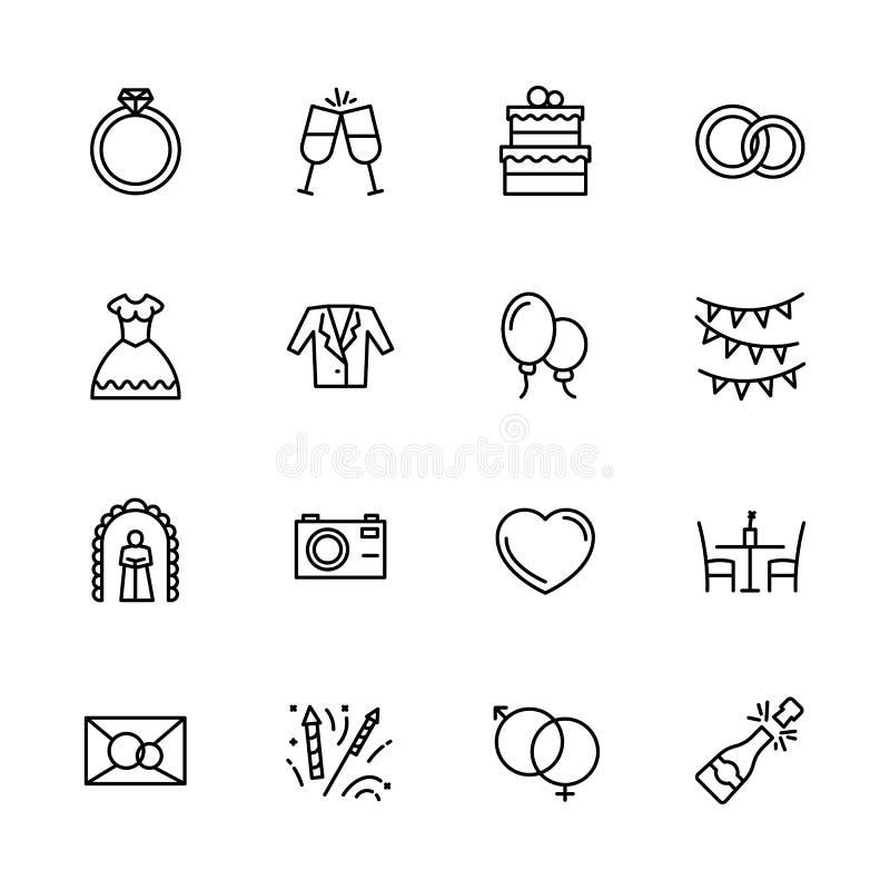 简单的象集合订婚和婚礼在教会里 包含这样标志爱,敲响,新娘婚纱和新郎衣服 向量例证