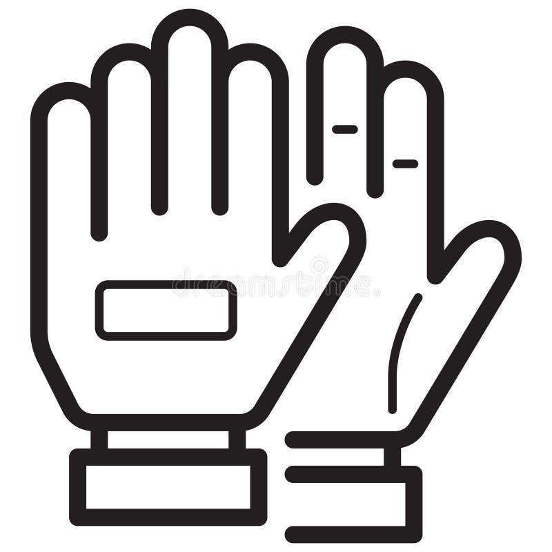 简单的足球手套相关传染媒介线象 概述样式 爱德 向量例证
